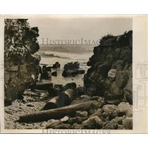 1952 Photo boulder strewn ruins Caesarea ancient Mediterranean port