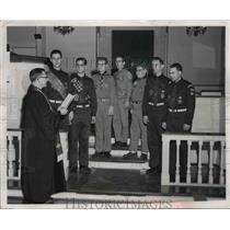 1958 Press Photo Seven Boy Scouts who won the God and Country Award - nee06280