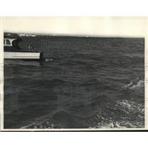1937 Press Photo Maureen Kern Lures Sailfish While Fishing in Miami Florida