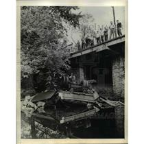 1942 Press Photo Two men Injured When Truck goes off Bridge - nee03256