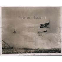1937 Press Photo American Flag Flying Over Fleville, France Battle - nee02686