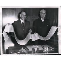 1955 Press Photo Businessmen Edmund A Krider, Sewell Avery Hold 11-Foot Telegram