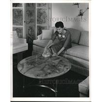 1959 Press Photo Brass Frames Hold Laminated Plastic to Tabletop & Screen
