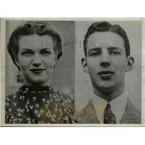 1938 Press Photo Wesleyan students Clara Mae Kerr, Charles Hopkins kidnapped