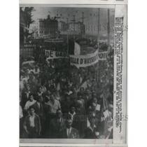 1958 Press Photo of a mass of demonstrators in Algeria.