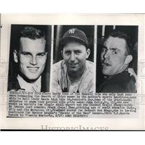 1948 Press Photo NYC Joh Kelly Jr,crew:Frank Shea Yankees, Jim McFadden Red Wing