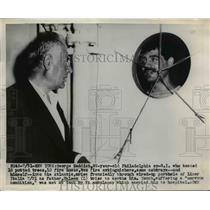1949 Press Photo R-L George Saddich, 22, Philadelphia Ex-GI with father Haleem