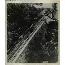 1939 Press Photo Aerial View of German Approach of Railway Bridge Across Rhine