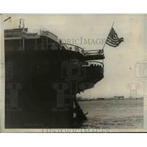 1924 Press Photo Half-Mast Flag on Stern of Ship S.S. George Washington
