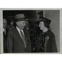 1935 Press Photo David Reed, Mrs Robert Lincoln Hoyal at Party Chieftains in D.C
