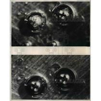 1950 Press Photo Molten gold seen under GE labs microscope - nee16269