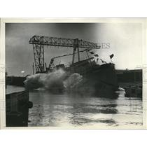 1931 Press Photo launching of the Valero III, cruiser in Long Beach, CA