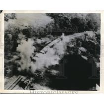 1944 Press Photo Whispering death by the Japanese blast an enemy supply train