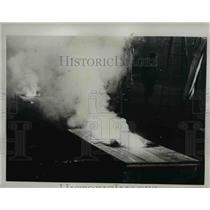 1935 Press Photo Incendiary Plane Bomb Test by French Firemen - nee22535