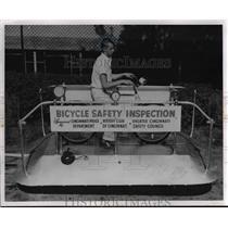 1956 Press Photo Bike Testing Device