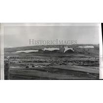 1952 Press Photo Air base Greenland Trucks roll along Road - nee23114