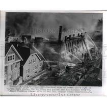 1955 Press Photo Seven Alarm Fire in Furniture Store in Milwaukee