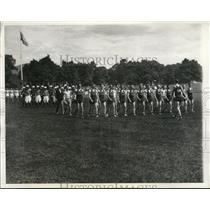 1932 Press Photo Cadet Athletes Review, West Point Military Academy - nee20214