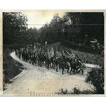 1930 Press Photo Boy Scouts march in Pilgrimage to Roosevelt Grave, L.I. NJ