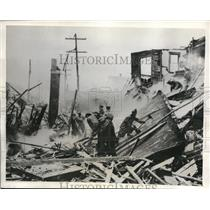 1932 Press Photo The wrecked building in Highland Park after the bombing