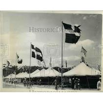 1937 Press Photo The avenue of flags at the Boy Scout Jamboree in Washington