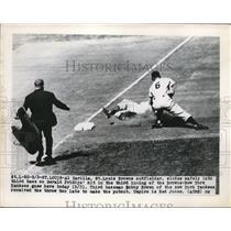 1949 Press Photo St Louis Mo Al Zarilla of Browns safe at 3rd vs Yankees Bob Bro