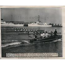 1949 Press Photo Oakland Calif U of Calif crew & Ky Ebbright - nes27267