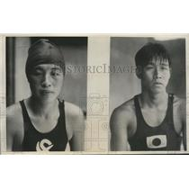 1932 Press Photo Japan Olympic swimmers Yoshiko Kato, Kaneikichi Katayama