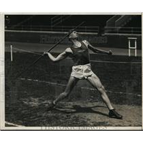 1931 Press Photo Kenneth Churchill of Calif at javelin IC4A games Philadelphia