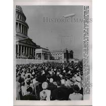 1953 Press Photo Washington Blimp hovers over Capitol inaugural ceremony