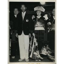 1932 Photo Japanese Olympic champ Chuhie Nambu weds Hisako Yokota