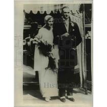 1930 Press Photo Brookline Mass Mr and Mrs James D Roosevelt leave church.