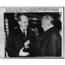 1962 Press Photo Dean Rusk greets Konrad Adenauer to Andrews Air Force Base
