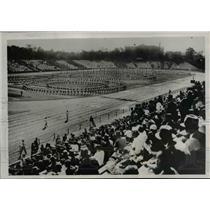 1938 Press Photo Grade School Kids Gymastics at Maiji Shrine Stadium Tokyo Japan