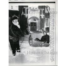 1957 Press Photo Kids Sledding After Blizzard, Amarillo Texas - nee48089
