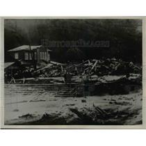 1936 Press Photo Photo shows portion of the town Osaruzawa leveled by a flood.