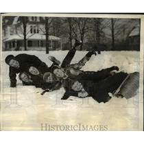 1936 Press Photo Students Snow Bobsledding at Pennsylvania State College