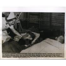 1955 Press Photo Red Cross Elizabeth Martin , Gus Schere Greenwhich High School