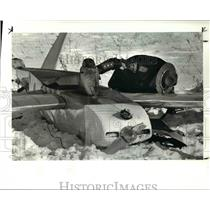 1985 Press Photo Dept Sheriff checks wreckage of plane off route 84 & Narrows Rd