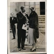 1932 Photo English star Betty Nuthall & French tennis star Jean Borotra