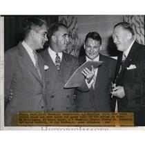 1947 Press Photo Baseball Commissioner A.B. Chandeler, Branch Rickey Jr., Larry