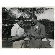1940 Press Photo Miami Beach Fla Jack Dempsey & Giants Rube Marquard - nes31093