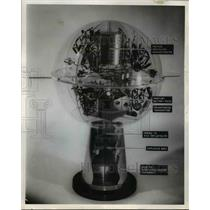 1955 Press Photo Model of Earth satellites on exhibit in Chicago  - nee75316