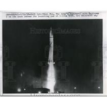 1958 Press Photo Cape Canaveral The Army's Jupiter-c with Explorer 5 on its nose