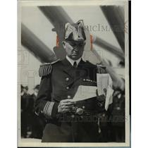 1927 Press Photo Admiral Louis Rudolph De Steiguer on flagship California