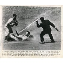1949 Press Photo Cubs Bob Scheffing out at 3rd vs Giants Sid Gordon - nes34878