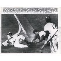 1958 Press Photo Braves Del Crandall out at home vs Cardinals Hobie Landrith