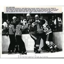1952 Press Photo St Louis Blues Rick Lapointe hit by Black Hawk Tom Lysiak