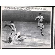 1957 Press Photo Nats Roy Sievers out at 2nd vs Red Sox Gene Mauch, Bill Consolo
