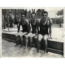1932 Press Photo Pablo Zierald, Ygnacio Escota, Manuel Villegas, Mexico swimmers